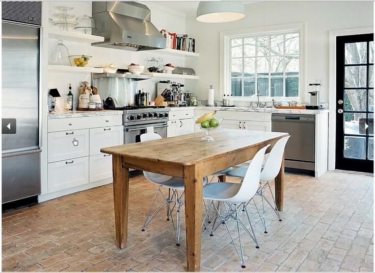Love the brick floorOpen Shelves, Farmhouse Table, Black Doors, Chairs, Floors Design, Style Guide, White Cabinets, Bricks Floors, White Kitchens