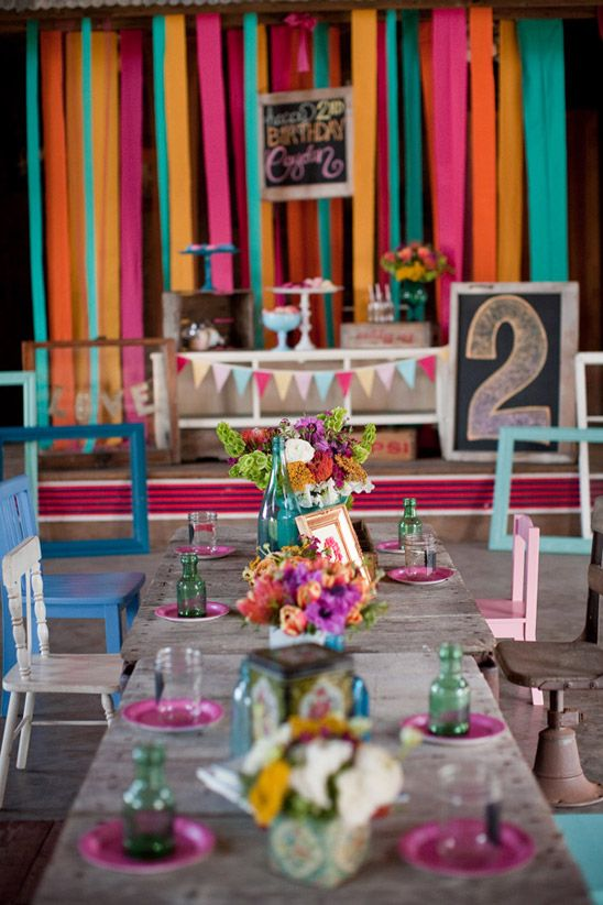 Eclectic birthday party bursting with a vibrant color palette of pink, turquoise, orange and yellow - beautiful!: Color Palettes, Birthday Parties, Vibrant Color, Birthdays, Eclectic Birthday, 2Nd Birthday, Colorful Birthday Party