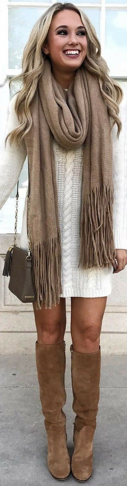 Cable knit sweater dress + scarf.