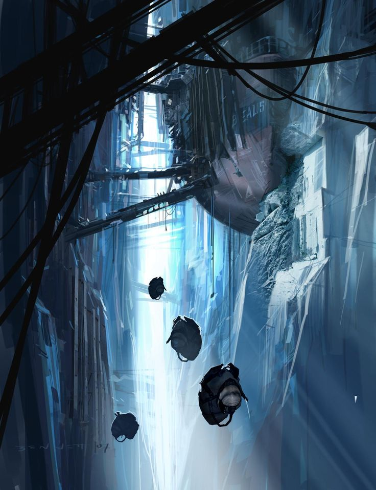Half-Life 2: Episode Three concept art by Jeremy Bennett :n the dystopian video game Half-Life 2 the downtrodden citizens of City 17 rally around the figure of Gordon Freeman and overthrow their Combine oppressors. :