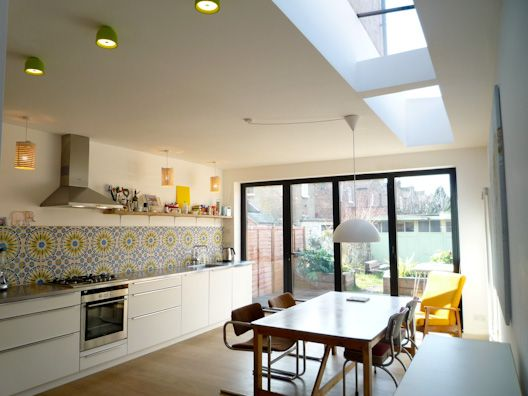 Love this kitchen ... especially the Moroccan tiles on the splashback.  Kitchen Extension.