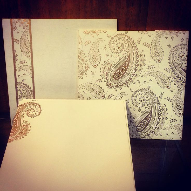 Beautiful card paper in floral design is an eye catcher. While the envelope is lined with the same print, and the exterior too has this print in a vertical border to its left. #MuslimWeddingCards #MuslimInvitations