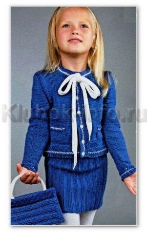 Вязание спицами для детей. Классический жакет с бантом, юбка и сумочка, для девочки. Обсуждение на LiveInternet - Российский Сервис Онлайн-Дневников