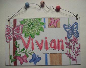 Hand personalized girls room name sign by pinkfishstudios on Etsy