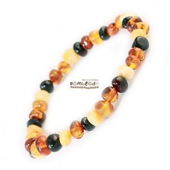 This Mixed 18cm Bambeado bracelet is made from rounded bud amber beads that have been smoothed so that there are no sharp edges. The bracelet is approx 18 cm in length and is threaded onto elastic to stretch over your wrist.While Bambeado amber comes in several colours, the colour is just a matter of personal choice. The colours may vary slightly from the images on the website due to variations in the amber beads. Each amber bracelet is unique.