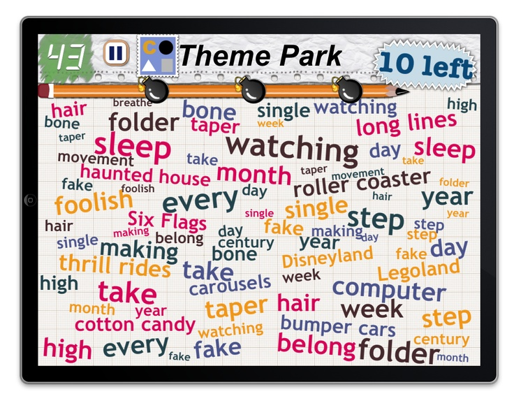Find 10 things in the category: Theme Park: Theme Parks, 10 Things, Word Mess