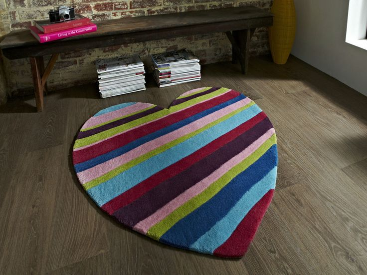 Striped Heart Children s Rug 90cm x 90cm (2'9 x 2'9 ft)