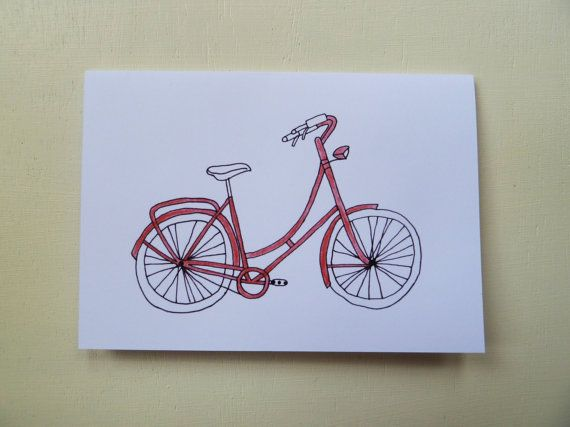 These Illustrated Bicycle Greetings Cards are designed and illustrated by Rachel Ali Hawkins. Great cards to give to someone special for any occasion! Available in Blue, Red, Green, Orange and Purple these cards have a hand rendered quality to them.  They measure approx 105mm x 148mm and come in a protective cellophane bag with a plain white envelope. Printed onto thick 350gsm, FSC credited paper stock. Blank inside.