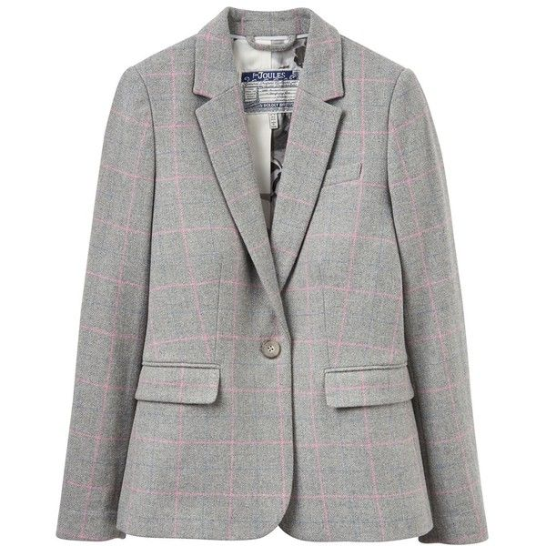 Women's Joules Lizbeth Tweed Blazer ($162) ❤ liked on Polyvore featuring outerwear, jackets, blazers, long blazer, 1 button blazer, long jacket, joules jackets and wool tweed blazer