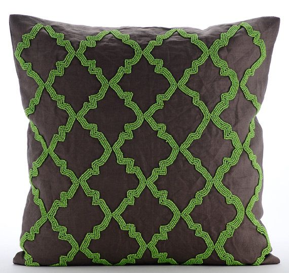 Green Symphony - 16x16 Green Bead Embroidered Brown Linen Throw Pillow.