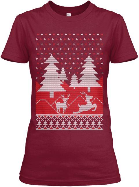 Cheap Christmas Jumper Women's Shirt Cardinal Red T-Shirt Front