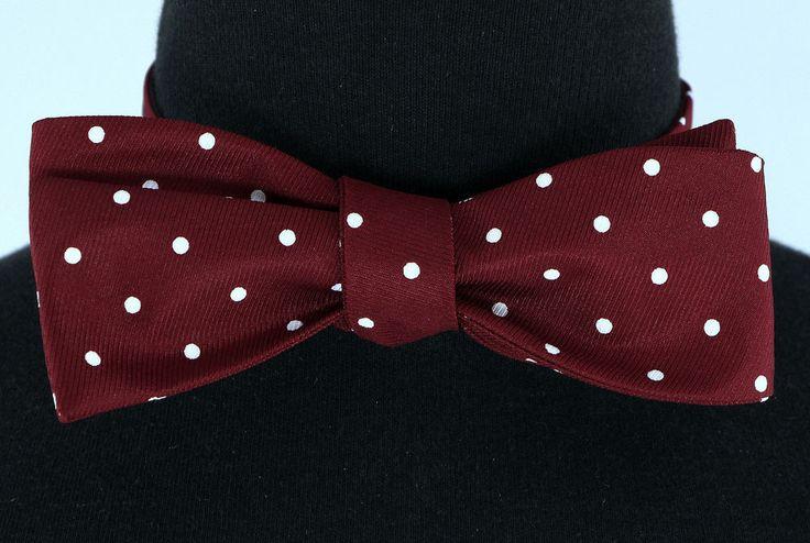 Polka Dot Mens Self Loop Bow Tie Tuxedo Wedding Fashion Burgundy Red Bowtie New…