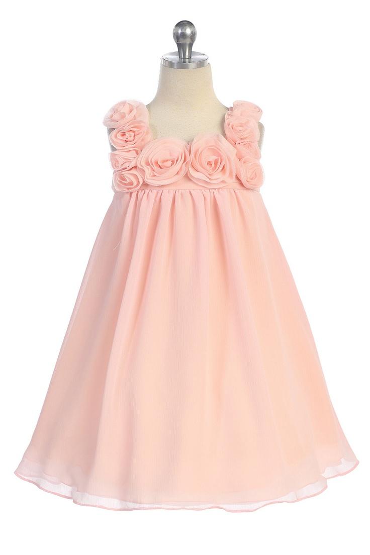 Peach Chiffon Short Flower Girl Dress CC-611-PH $45.95 on www.GirlsDressLine.Com'    BUT IN IVORY or White
