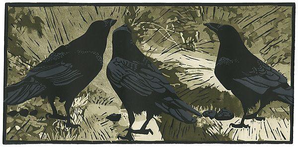 "Super Composition and Detail: ""Ravens' Wood"" Linocut Print by Barbara Stikker"