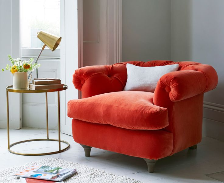 There's been so much love for our Bagsie Chesterfield-style love seat we decided to create a smaller version. This deep buttoned back classic armchair has a lower back but the comfy factor is still as high. Upholstered here in Lava  plush velvet and available in over 120 gorgeous cottons, wools, velvets and linens.