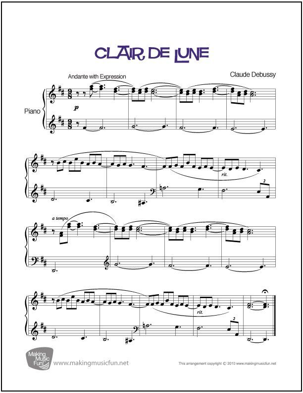 Clair De Lune Debussy Sheet Music For Piano Digital Print