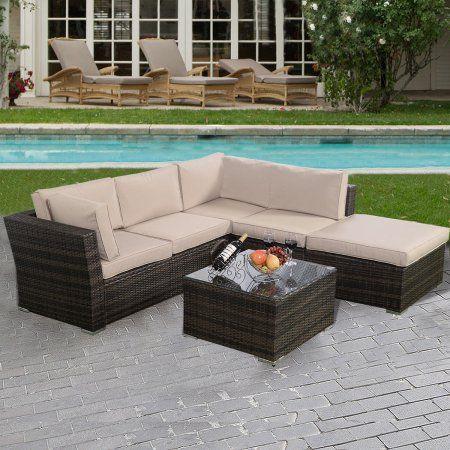 Costway 4PCS Wicker Cushioned Patio Rattan Furniture Set Sofa 5 Seat Garden Lawn