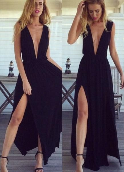 Sexy Black Prom Dress Deep V Neckline Evening Prom Dresses With High Slit pst1019
