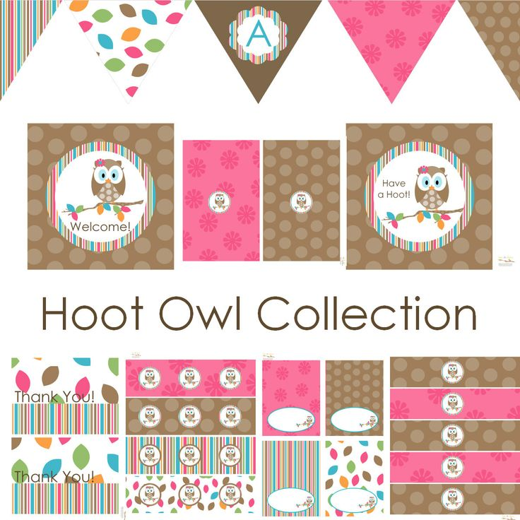 Pink Hoot Owl FULL Printable Party Decor for Birthday or Baby Shower DIY Decorations by BeeAndDaisy. $12.00, via Etsy.