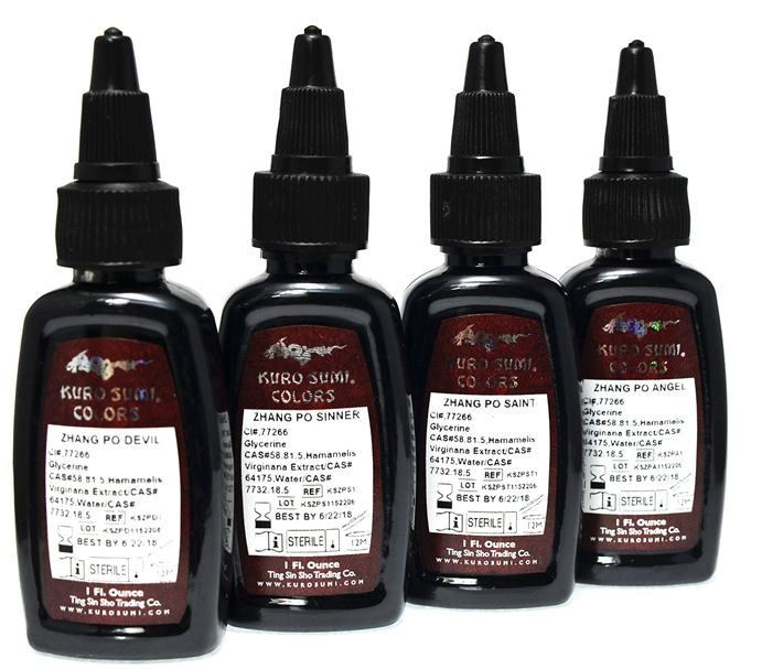 Kuro Sumi Zhang Po Ink Set 1oz - £12.95 6oz - £32.95 #tattooink #kurosumi #magnumtattoosupplies