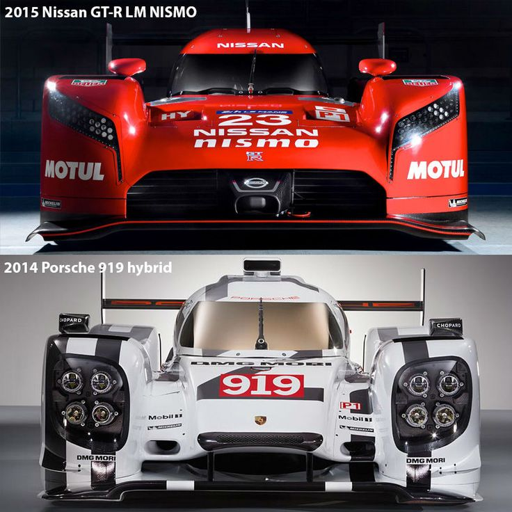 Frontansicht im Vergleich: 2015 Nissan GT-R LM NISMO & 2014 Porsche 919 hybrid (Fotos: Nissan, Porsche; Montage: addicted to motorsport)
