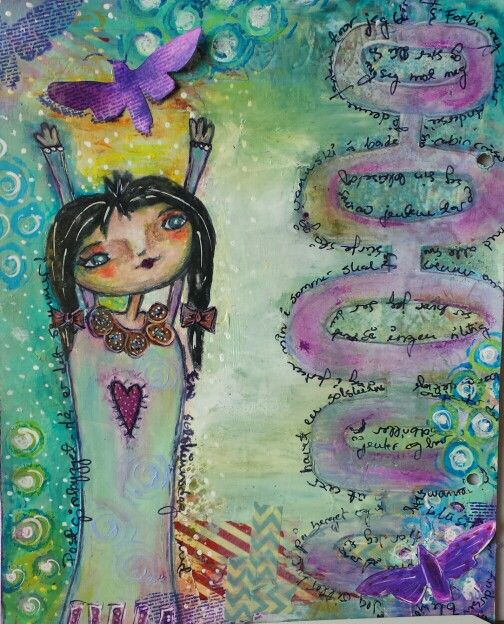 """whimsy.""""En solskinnsdag"""". drawing with acrylic paint, docraft Artiste watercolour pens and Prismacolour."""