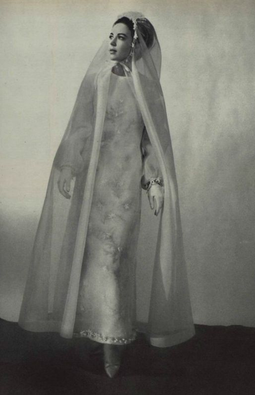 1960s wedding style. 1965 Dior wedding dress and veil.