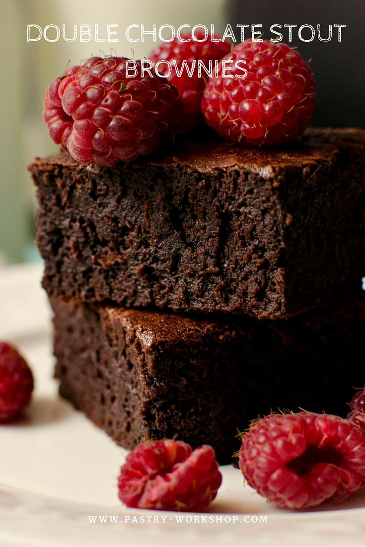 Double Chocolate Stout Brownies www.pastry-workshop.com #desserts #pastryworkshop #pastry