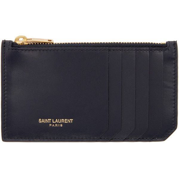 Saint Laurent Navy Leather Zippered Card Holder ($250) ❤ liked on Polyvore featuring bags, wallets, zipper wallet, leather zip wallet, yves saint laurent, navy wallet and card holder wallet