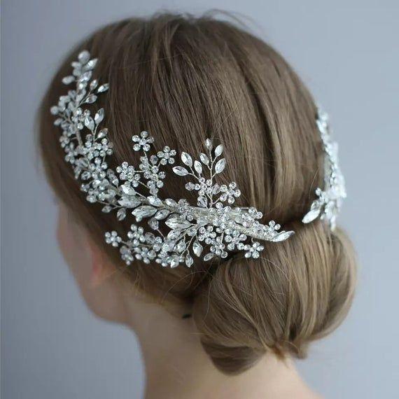 Wedding Bridal Hair Accessories Flower Tiara Clips Crystal Pearl Vine Headband