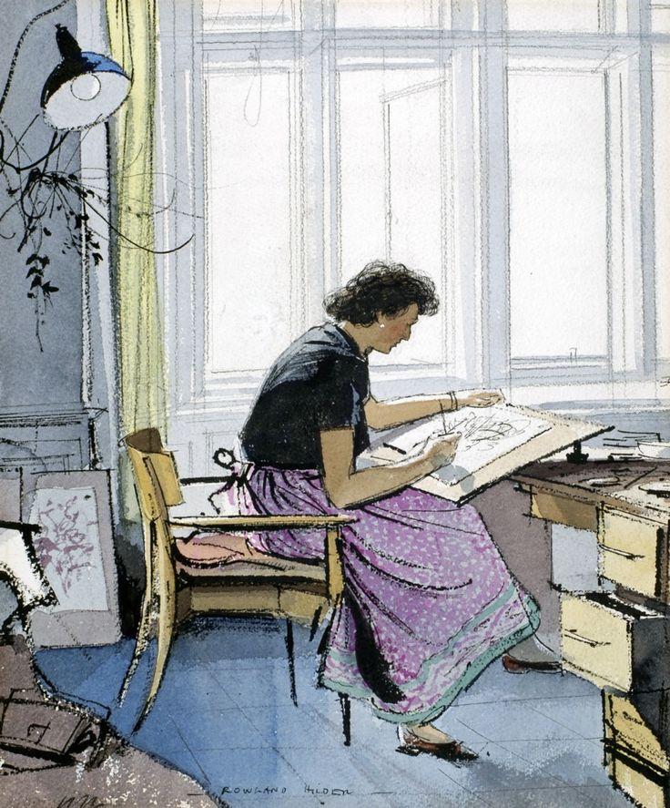ARTIST AT WORK: EDITH HILDER by ROWLAND HILDER - original artwork for sale | Chris Beetles