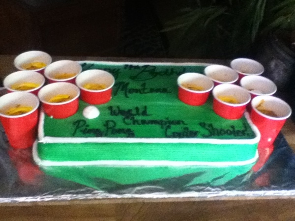 Beer Pong Cake! Hell to the Yeah!! LOVE this!! Brothers next cake!!