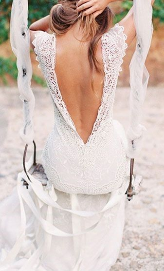 Beautiful gown. Love this v-back. Come see us at #thebridalcottage for similar styles. #vestidos de novia