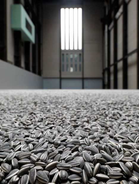 The Unilever Series: Ai Weiwei Sunflower Seeds 2010 the interior of the Turbine Hall at Tate Modern with Ai Weiwei's installation of sunflower seeds
