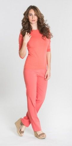 Full length pants BCP8909T available in peach punch (pictured), black, emerald, key lime, sand and white