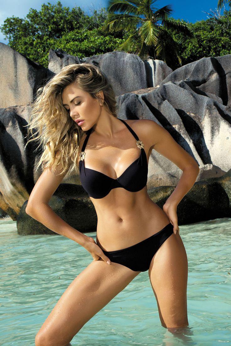 Summer Dream Black Swimsuit, no padded bra, back fastening and adjustable tie neck bra, metal accessories, women`s…