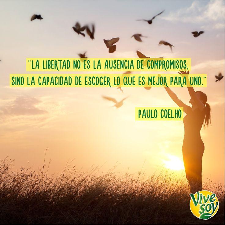 Cada uno tenemos la libertad de decidir por nosotros mismos. #DíaDeLaLibertad #Vivesoy #Frase #Positividad #MeCuido #Bienestar #BebidasVegetales #Disfruta #Soja #Disfruta #PauloCoelho #libertad