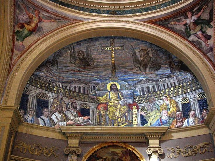 Apsis mosaic, Santa Pudenziana, Rome photo Sixtus enhanced TTaylor - Christ Pantocrator - Wikimedia Commons