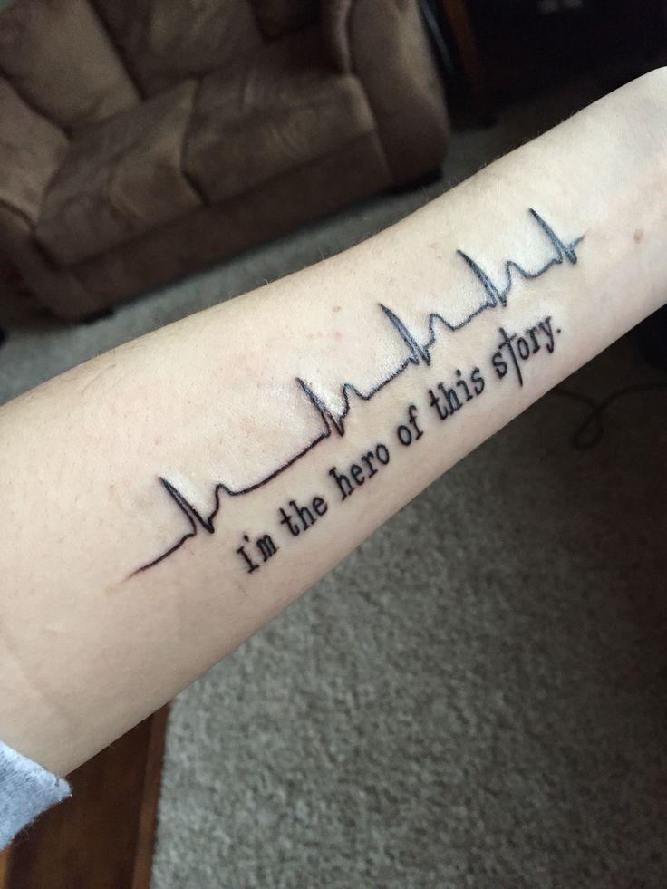 January of 2014 I was having quite a lot of heart pauses after a cardiac ablation. The heartbeat is mine from a 24 heart monitor! Anytime I'm feeling down, all I have to do is look down and remind myself I can get through anything. #Tattoo #HeartDisease #IST