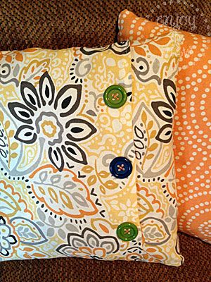 Super-Easy DIY Pillow Covers in less than 15 minutes! This blogger also has very easy to follow instructions with lots of different DIY ideas.