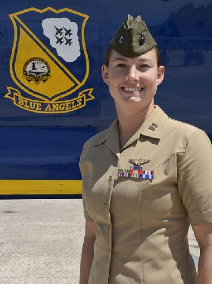 Marine Capt. Katie Higgins, 27, the first-ever female Blue Angel. She will fly as a C-130 demonstration pilot starting in October.    Higgins, a 2008 graduate of the Naval Academy in Annapolis, Maryland, is currently assigned to Marine Aerial Refueler Transport Squadron 252 (VMGR-252) at Marine Corps Air Station Cherry Point, North Carolina.