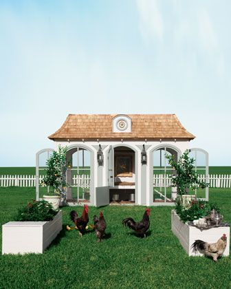 """From the Neiman 2012 catalogue:""""Dawn breaks.The hens descend from their bespoke Versailles-inspired LePetit Trianon house to their playground below for a morning wing stretch"""" I am no kidding...price: $100,000. It is multi level and comes with a living room, broody room, and a library filled with book...oh and a chandelier...I've got to say, you can't even make this stuff up!!!"""