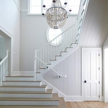 Two Story Cottage Foyer with Natural Abalone Chandelier