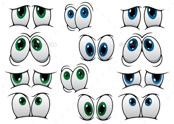 Blue and Green Cartoon Eyes - People Characters