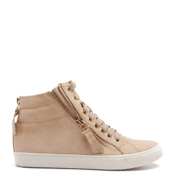 High top trainer in beige colour.