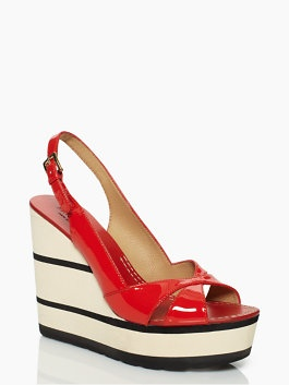 Kate Spade - red patent wedge