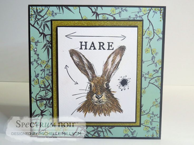 8 x 8 Tent Fold Card. Designed by Michelle Millsom. Sheena Douglass Stamp - Hare. Colour Tint Pencils - All. Clay, Caramel, Cafe Au Lait.