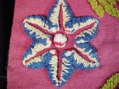Antique Amish Rug or Table Mat, Sculptured Plush Stars, Velvet & Wool Fabric (12/09/2013)