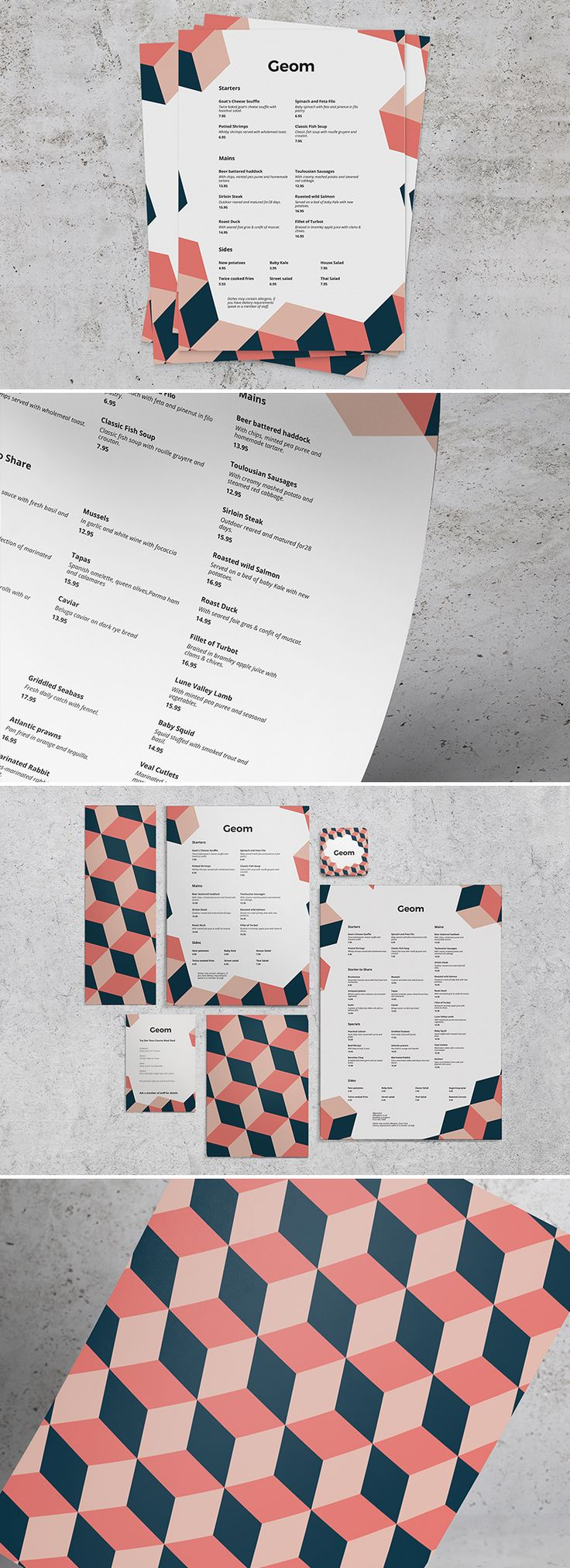 Geom - A striking geometric menu design with bold colours and a quirky layout style. From Print Waiter. #menu #geometric #quirky
