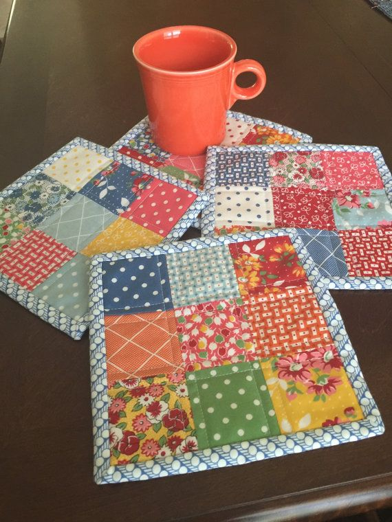 Handmade Quilted Mug Rug Set Bread and Butter by SeasideStitchin